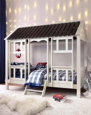 teen纽西兰纯松木木屋创意床-白色