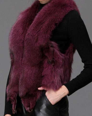 紫色狐狸毛皮草马甲