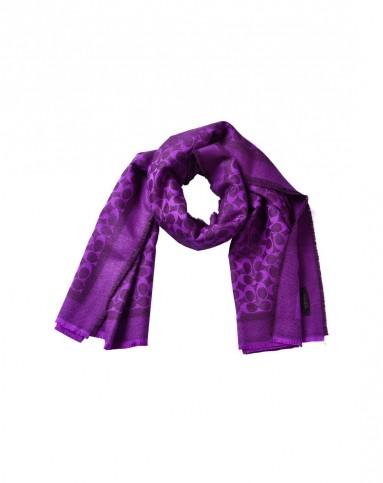 女士紫色花纹logo羊毛围巾168*