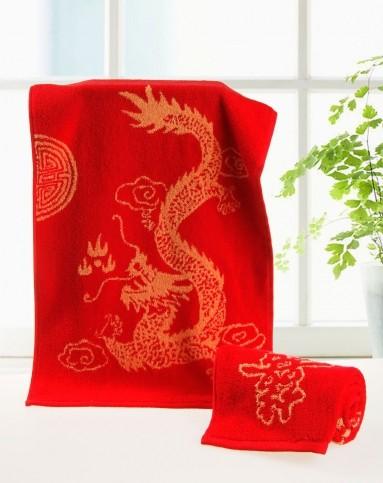 红色结婚喜庆龙风图案毛巾4条装*红色