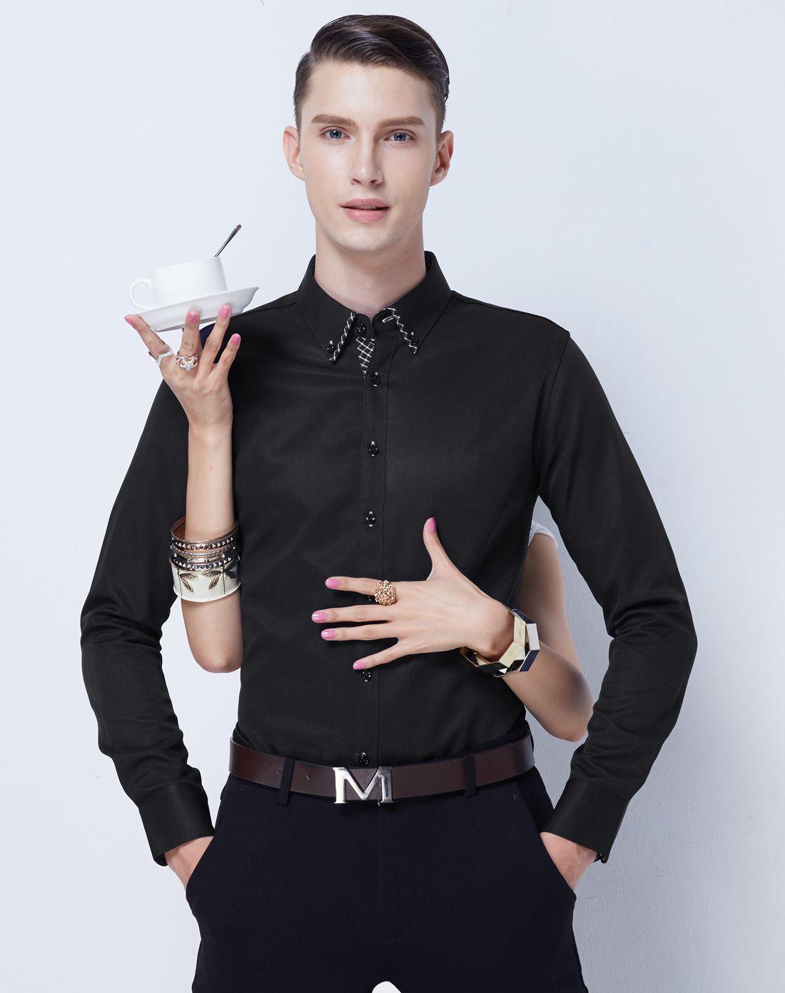男款黑色抗皱易打理设计款长袖衬衫