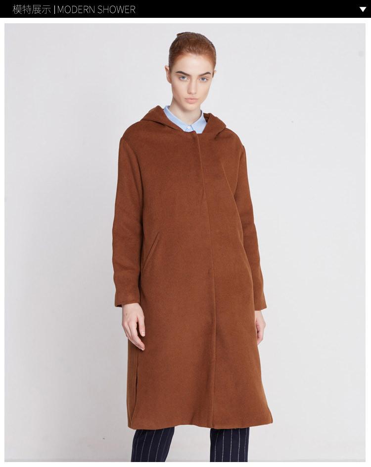 tadannu塔丹奴 原创设计师驼色时尚大口袋羊绒大衣2