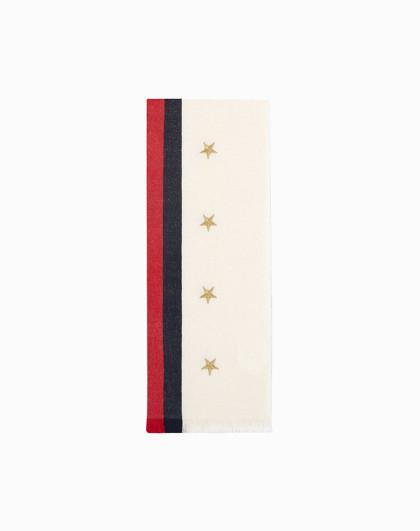 GUCCI 古驰 女士黑白红拼色五角星图案羊毛羊绒围巾