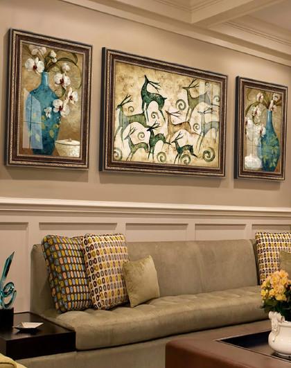发财鹿 欧式沙发背景墙装饰画现代简约墙画客厅挂画壁画