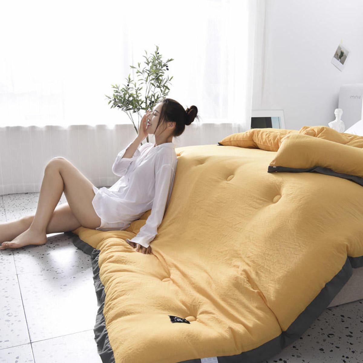 雅鹿ins北欧简约风纯色水洗棉被子日式被芯单人双人简约加厚冬被褥COLOR黄色