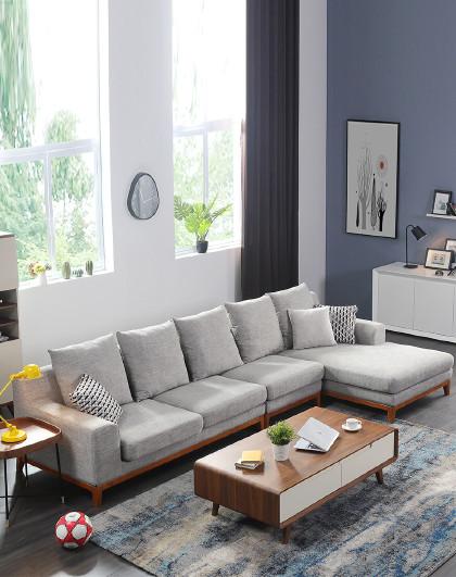 左右北欧布艺沙发客厅整装现代实木沙发小户型可拆洗组合家具6002