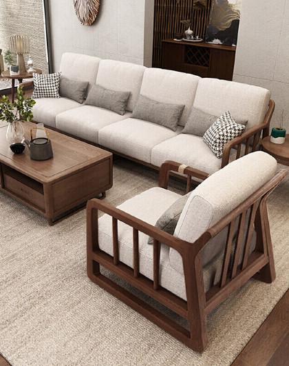 北欧小户型简约实木沙发可拆洗布艺沙发白蜡木家具