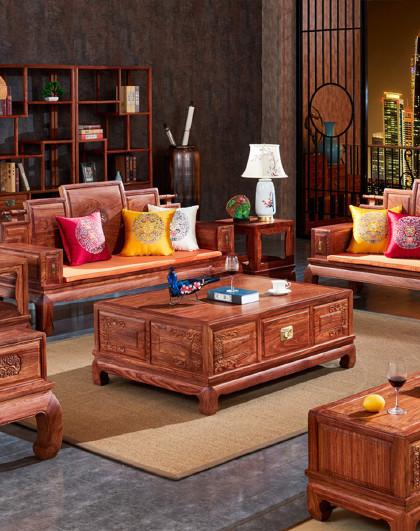 周家庄 红木家具非洲花梨(学名:刺猬紫檀)沙发实木沙发新中式别墅沙发