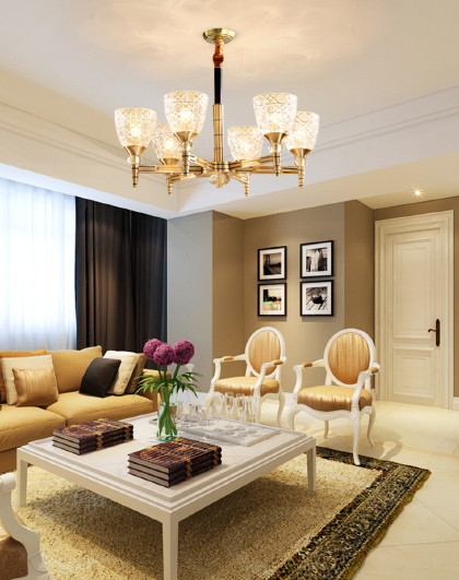 全铜美式吊灯大气客厅餐厅卧室大小户型现代简约乡村北欧创意灯具