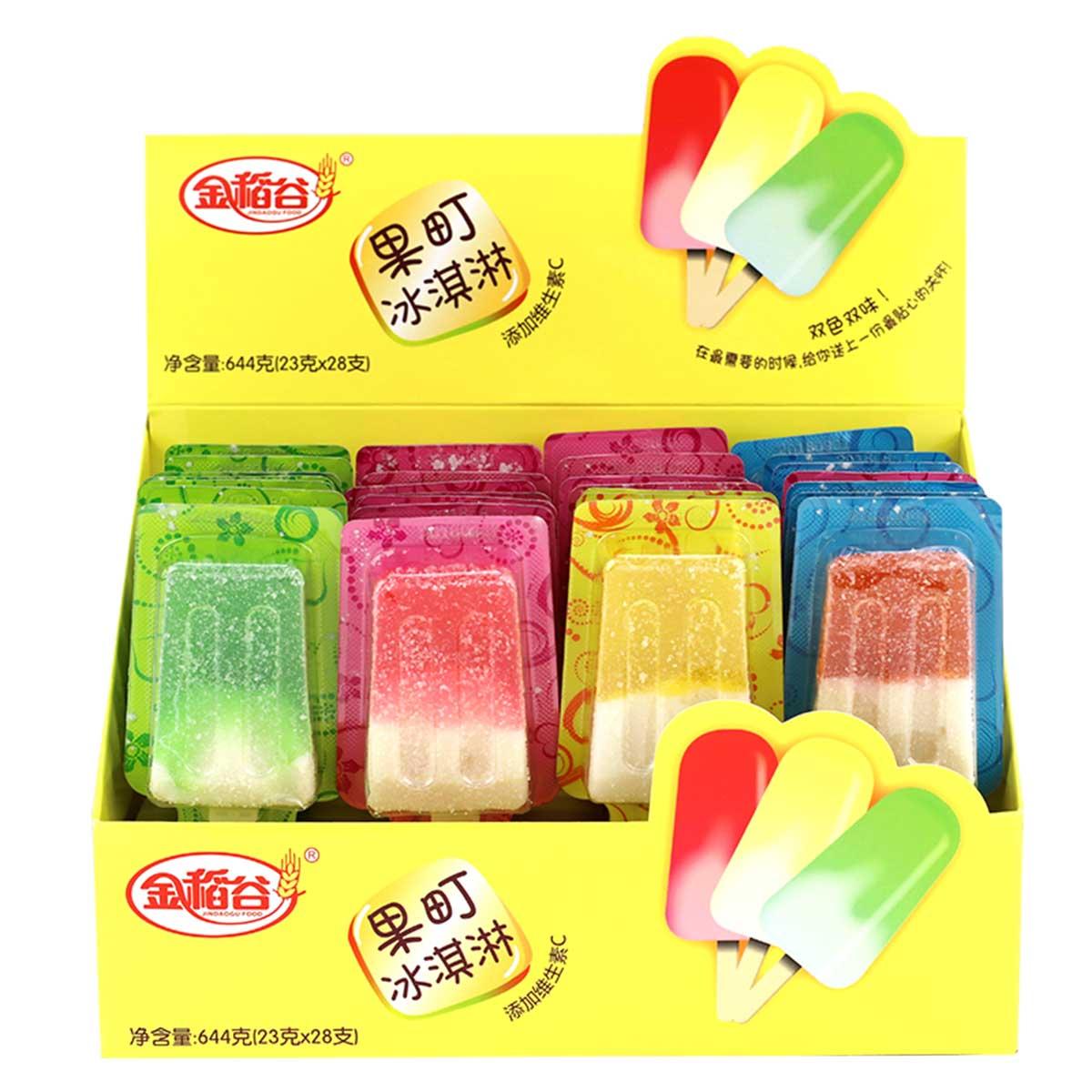 金稻谷糖果棒棒糖28支维C果汁软糖雪糕水果味儿童年货休闲零食644gCOLOR28支维C软糖-年货糖果