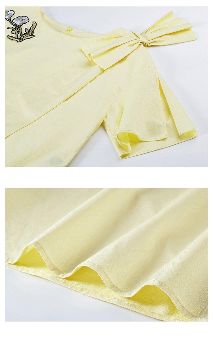 时尚百搭蝴蝶结绣花衬衫女黄色