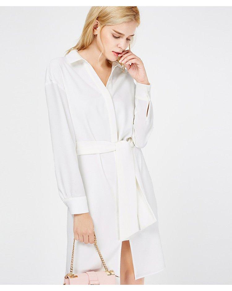 系带衬衫式连衣裙白色