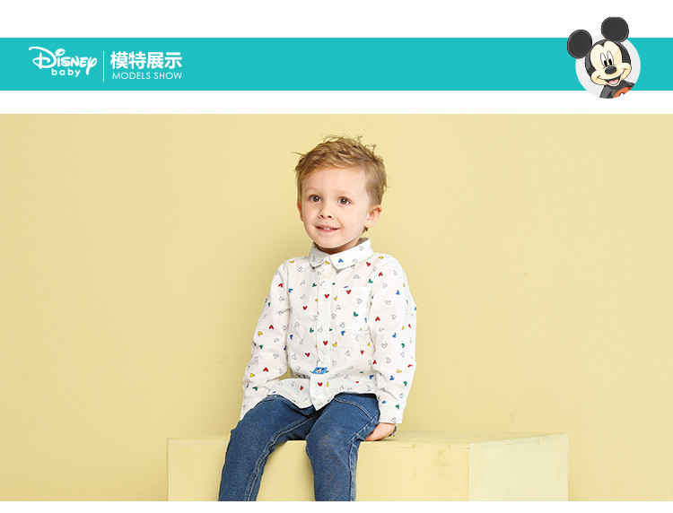 迪士尼宝宝disney baby婴童男童白底多彩米奇头衬衫头