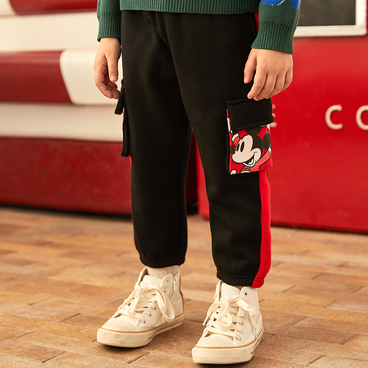 迪士尼宝宝国潮男童针织不倒绒工装裤2019冬新款迪士尼宝宝童装加绒加厚长裤DB022GX08B1000