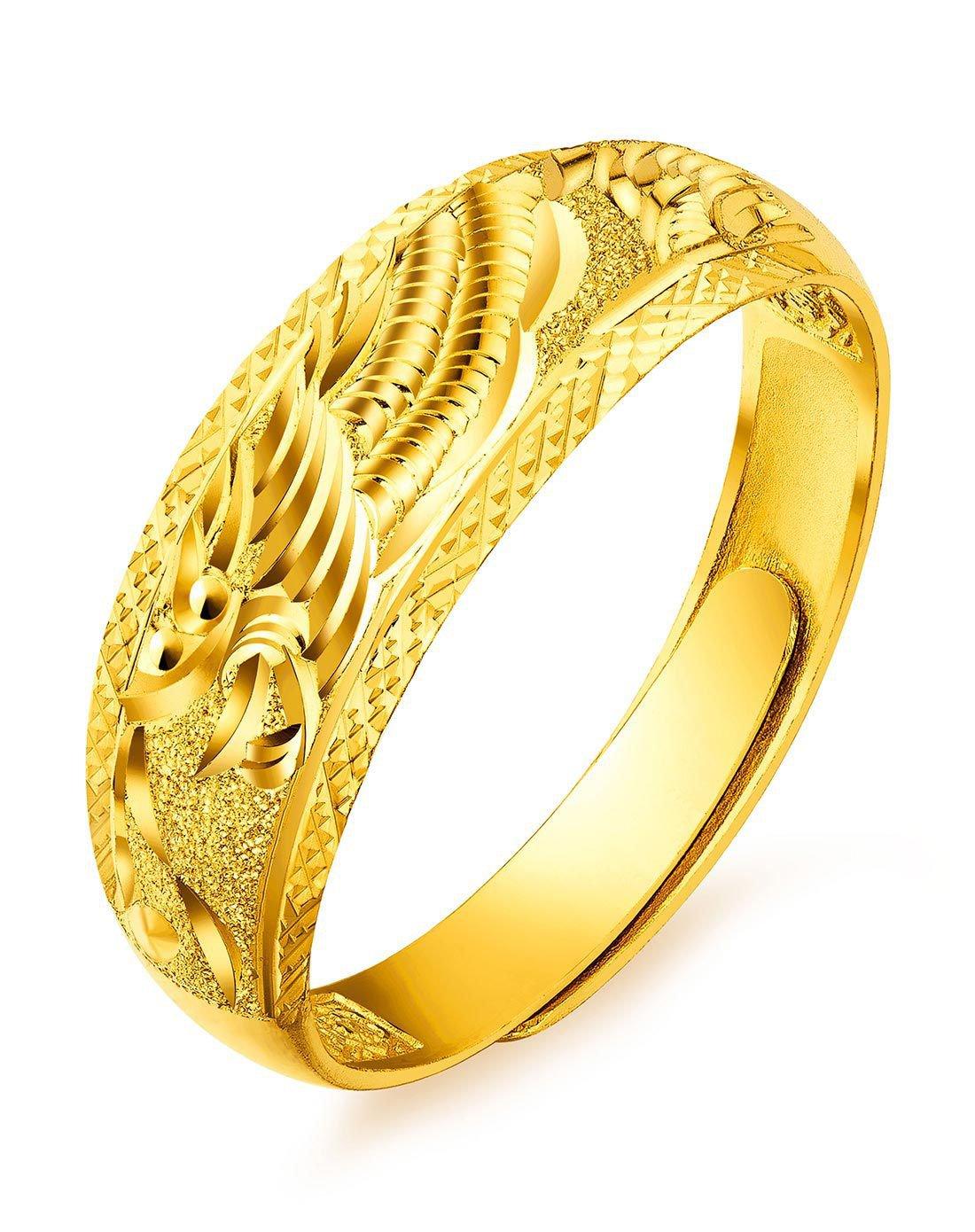 六福珠宝六福珠宝 足金龙凤结婚对戒黄金戒指男款婚戒活口戒 计价B01TBGR0019