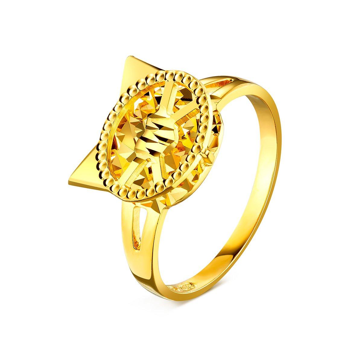 六福珠宝六福珠宝 goldstyle喵之心语黄金戒指闭口女戒 定价HMA15I40057