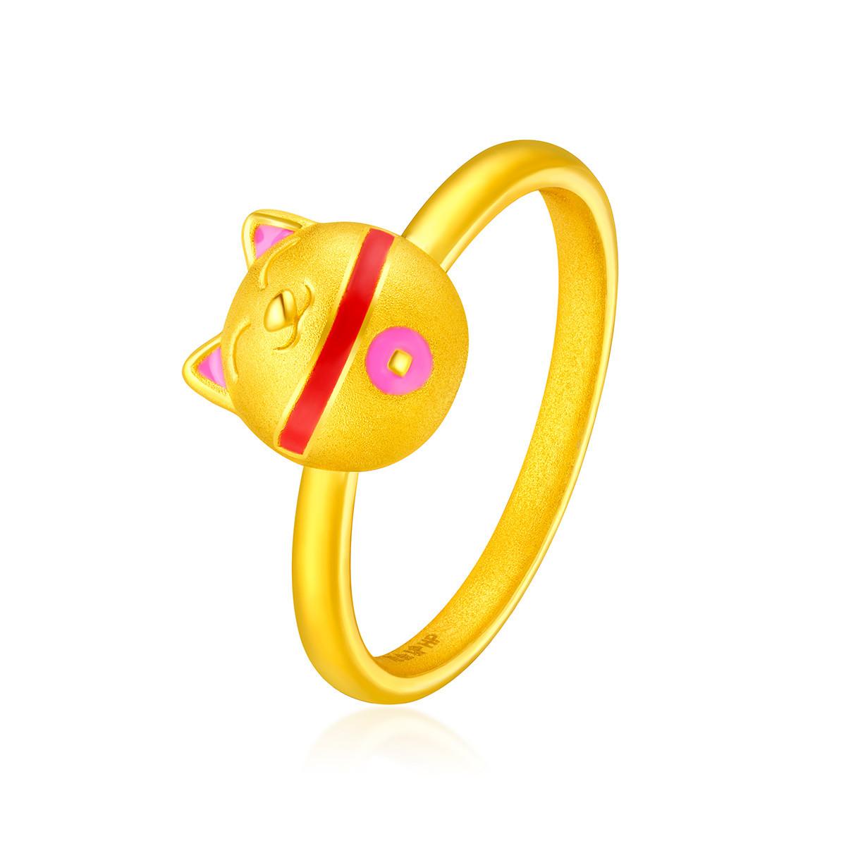 六福珠宝六福珠宝黄金足金珐琅工艺运财猫戒指定价HPA140001
