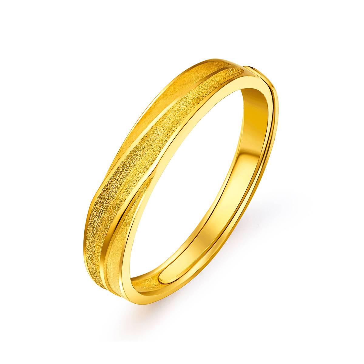 六福珠宝六福珠宝 长相伴黄金活口戒指(计价)B01TBGR0024