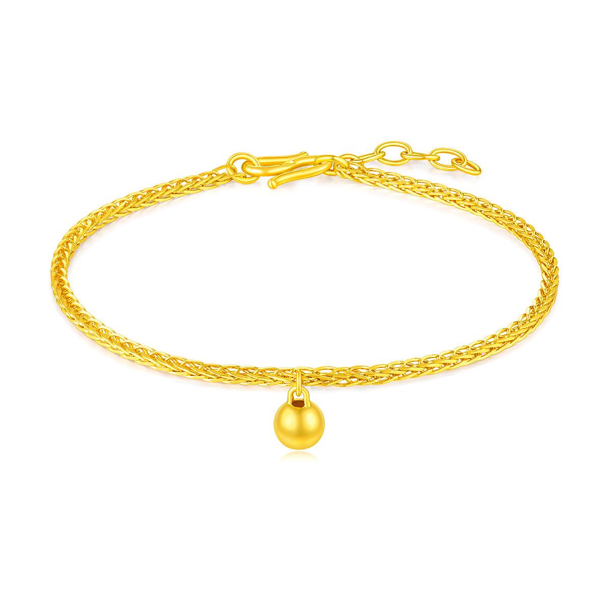 六福珠宝六福珠宝简约小金珠手链含延长链黄金手链女款计价F63TBGB0025