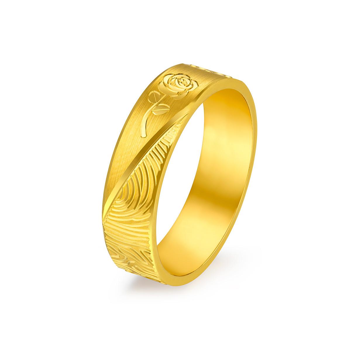六福珠宝六福珠宝黄金戒指囍爱系列开枝散叶黄金对戒婚嫁女戒计价GDG40061