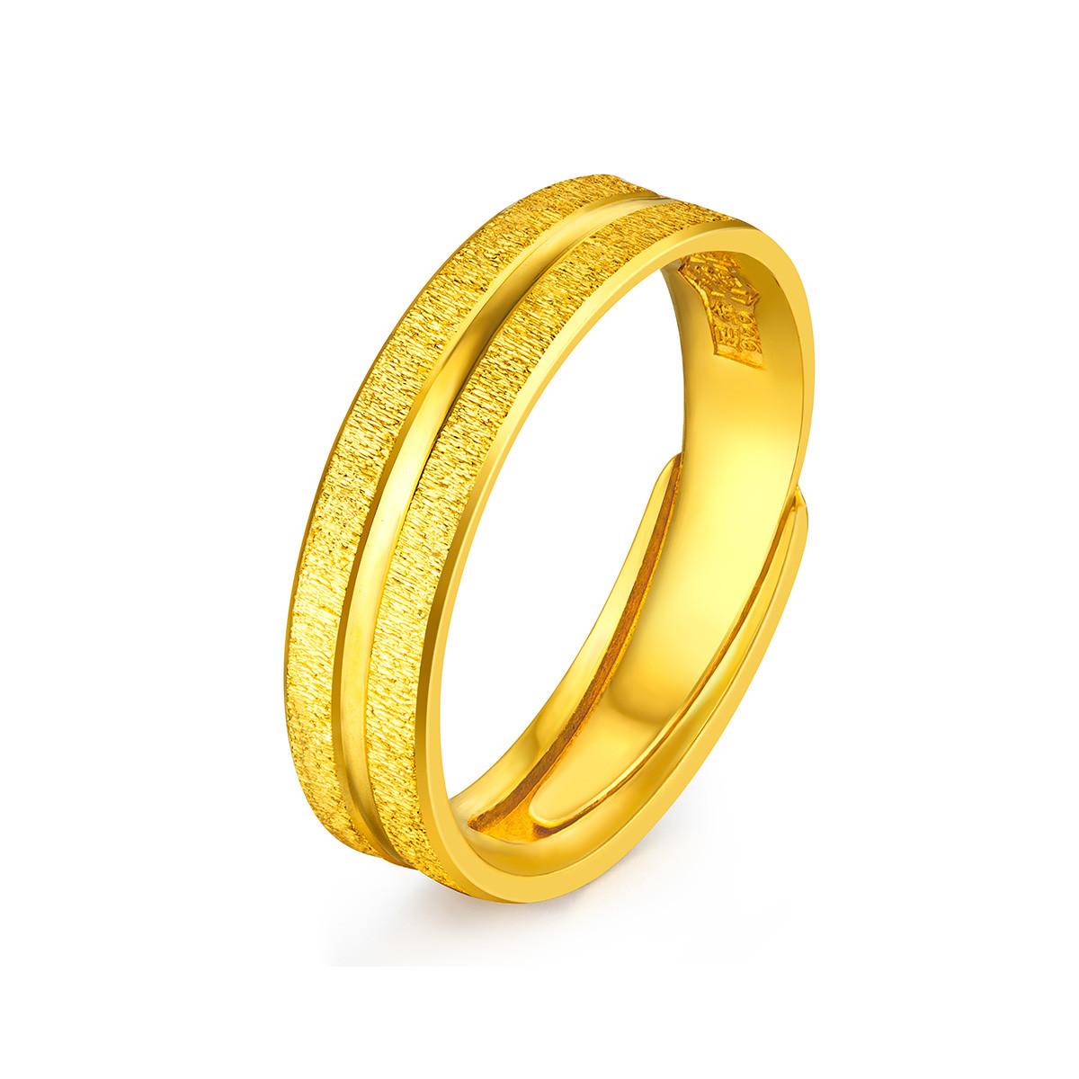 六福珠宝六福珠宝爱情轨迹黄金戒指男情侣结婚对戒足金计价F63TBGR0007
