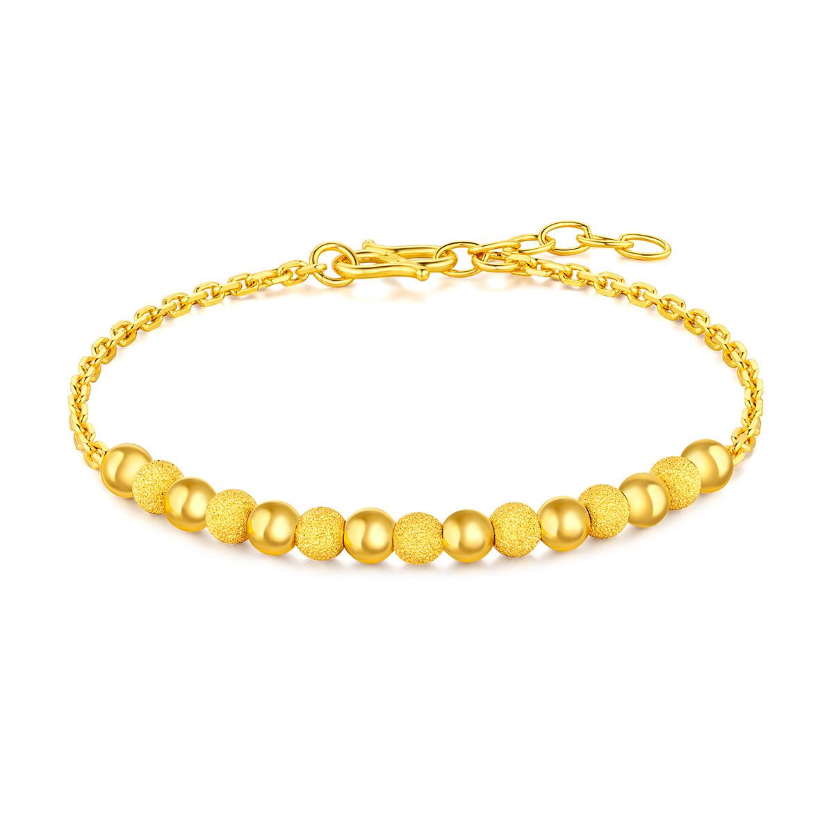 六福珠宝六福珠宝圆圆满满圆珠黄金手链足金手链含延长链计价F63TBGB0032