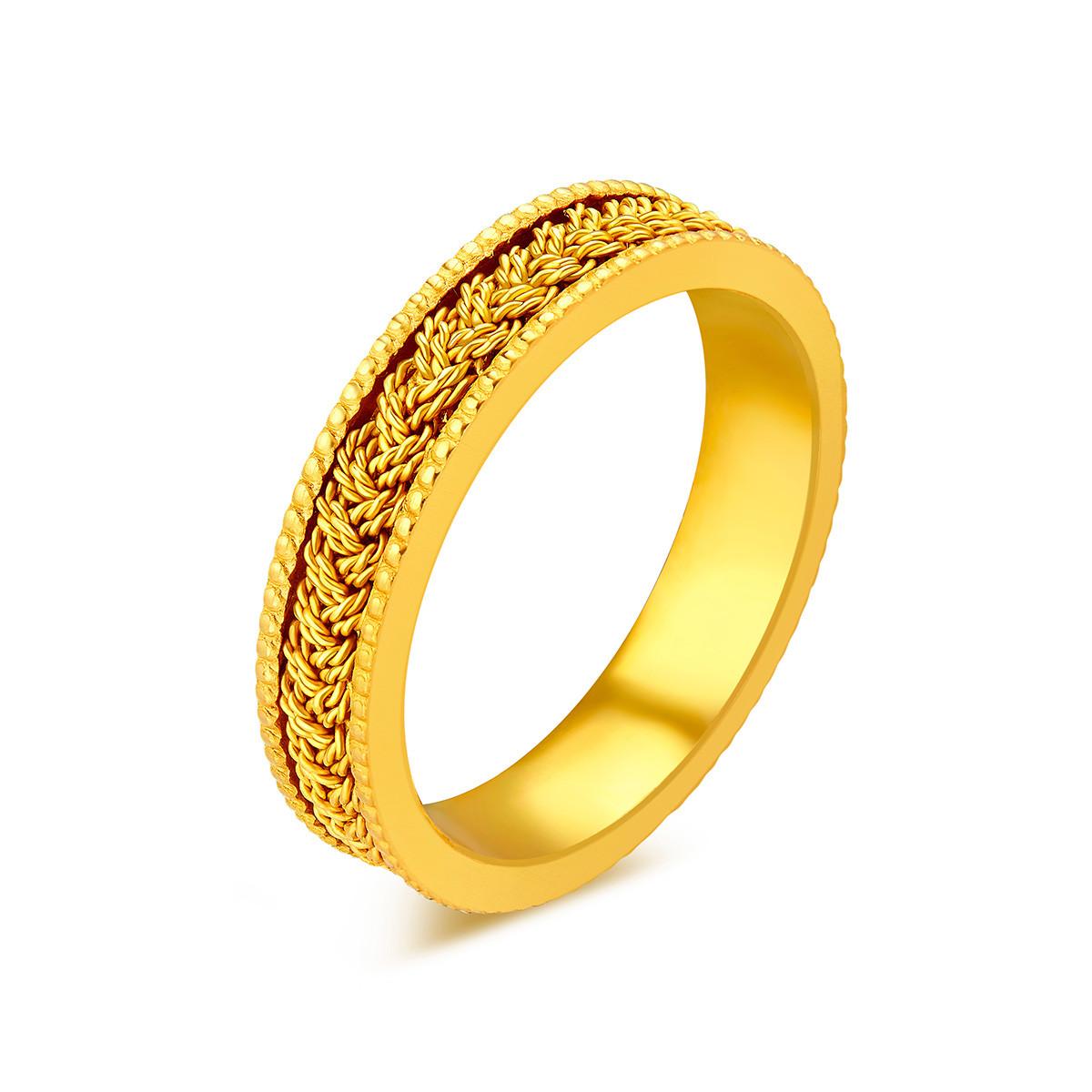 六福珠宝六福珠宝精工款编织纹黄金戒指男戒闭口戒计价A03TBGR0002