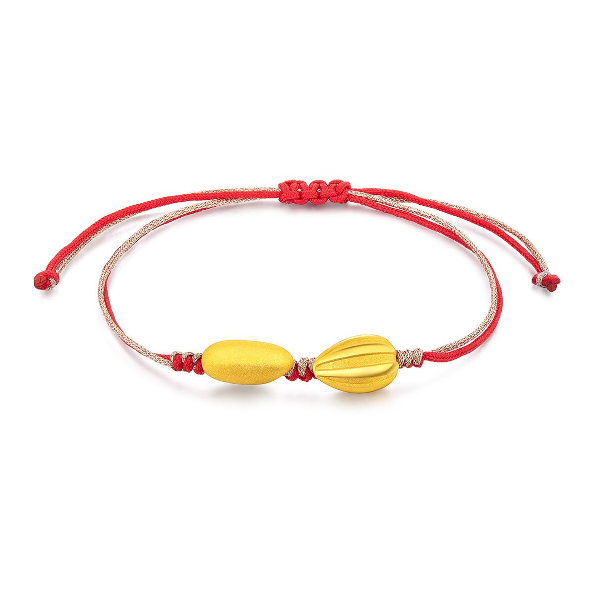 六福珠宝六福珠宝吉祥红绳金瓜子金大米黄金手链鼠年有米定价L01A1TBB0017