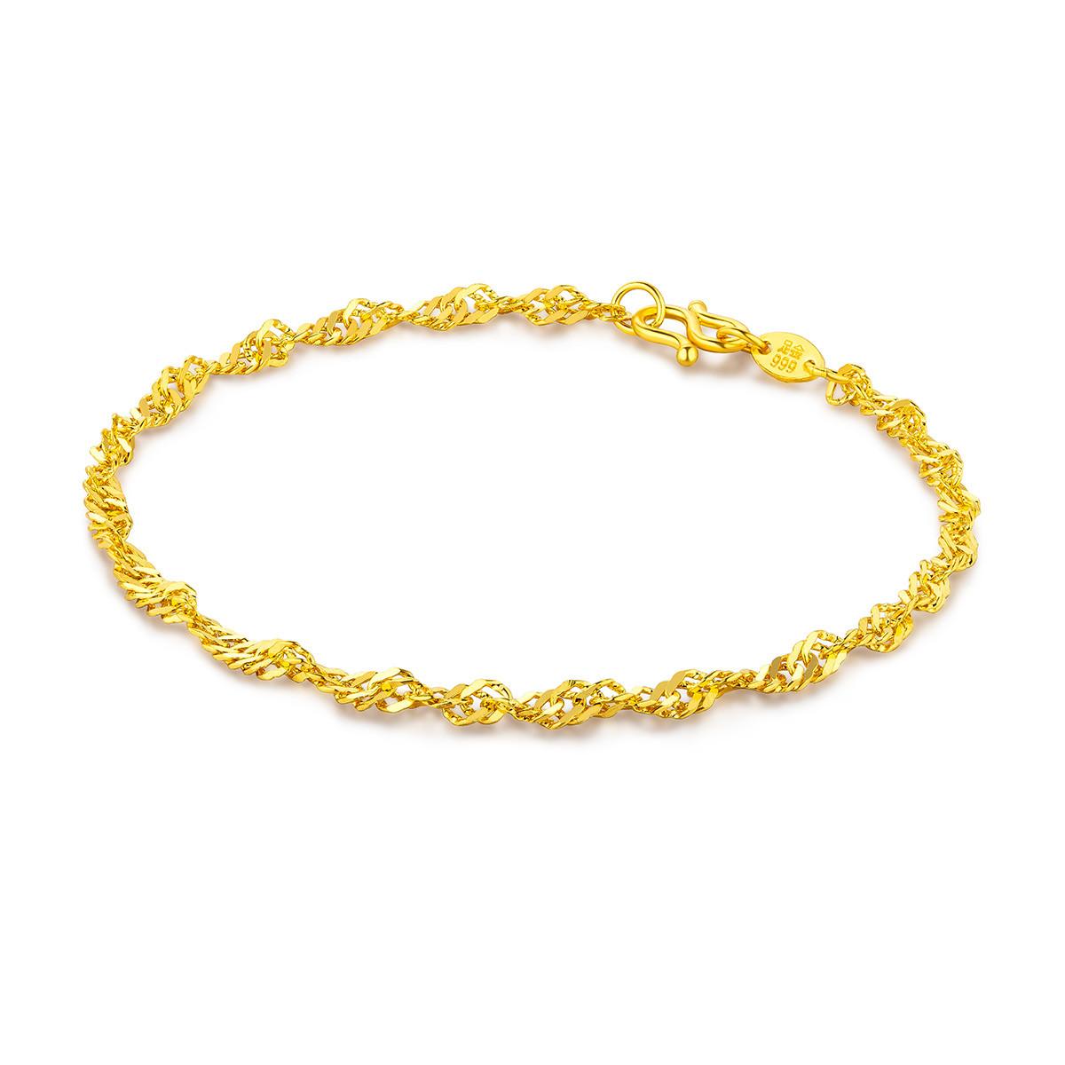 六福珠宝六福珠宝 足金水波纹黄金手链(计价)B01TBGB0009
