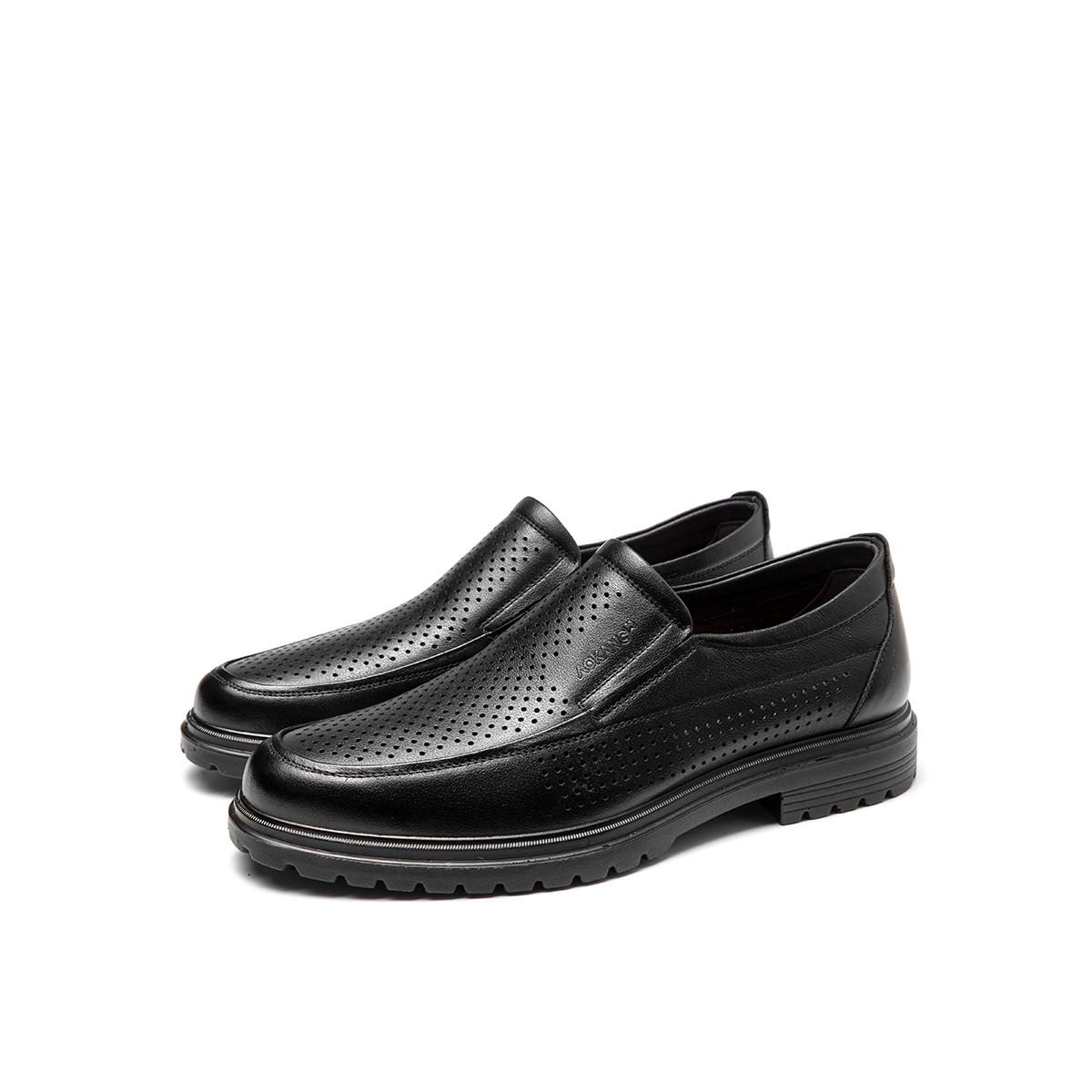 奥康奥康男鞋2019潮流休闲镂空男鞋套脚低跟透气皮鞋193812008