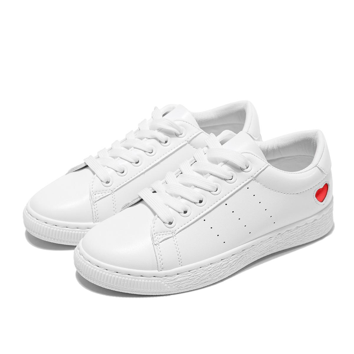 奥康奥康女鞋 2019年新款爱心简约小白鞋板鞋日常休闲系带196423099