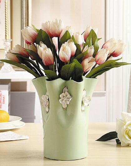 欧式家居插花摆设客厅仿真花束干花装饰品仿郁金香陶瓷花瓶摆件