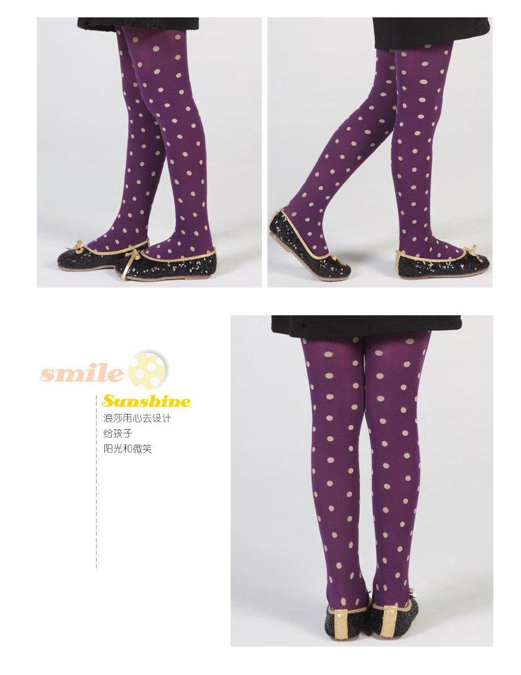 女童圆点提花连裤袜紫色