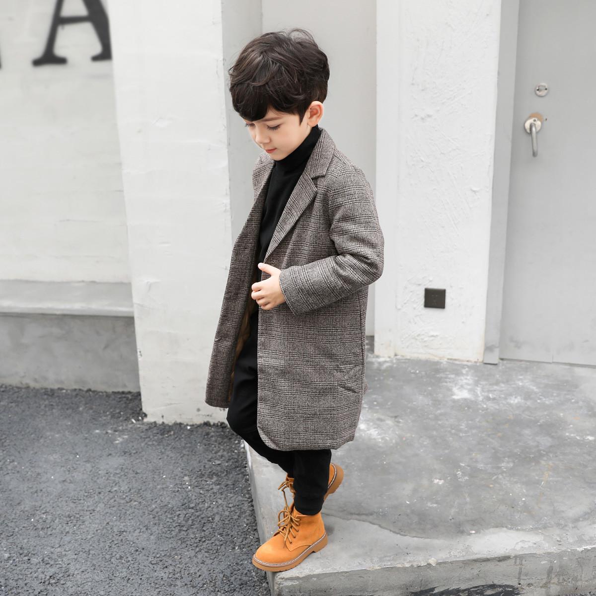 左西左西童装男童毛呢外套呢子大衣夹棉中大童韩版潮冬装2019新款ZY174296273