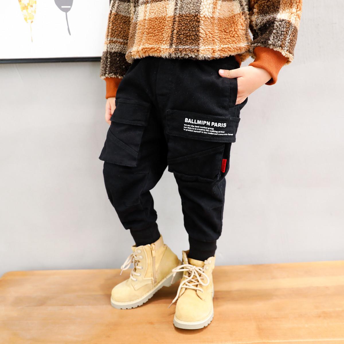 左西左西男童加绒裤子冬装2019新款工装裤休闲裤加厚中大童洋气潮ZK194144002