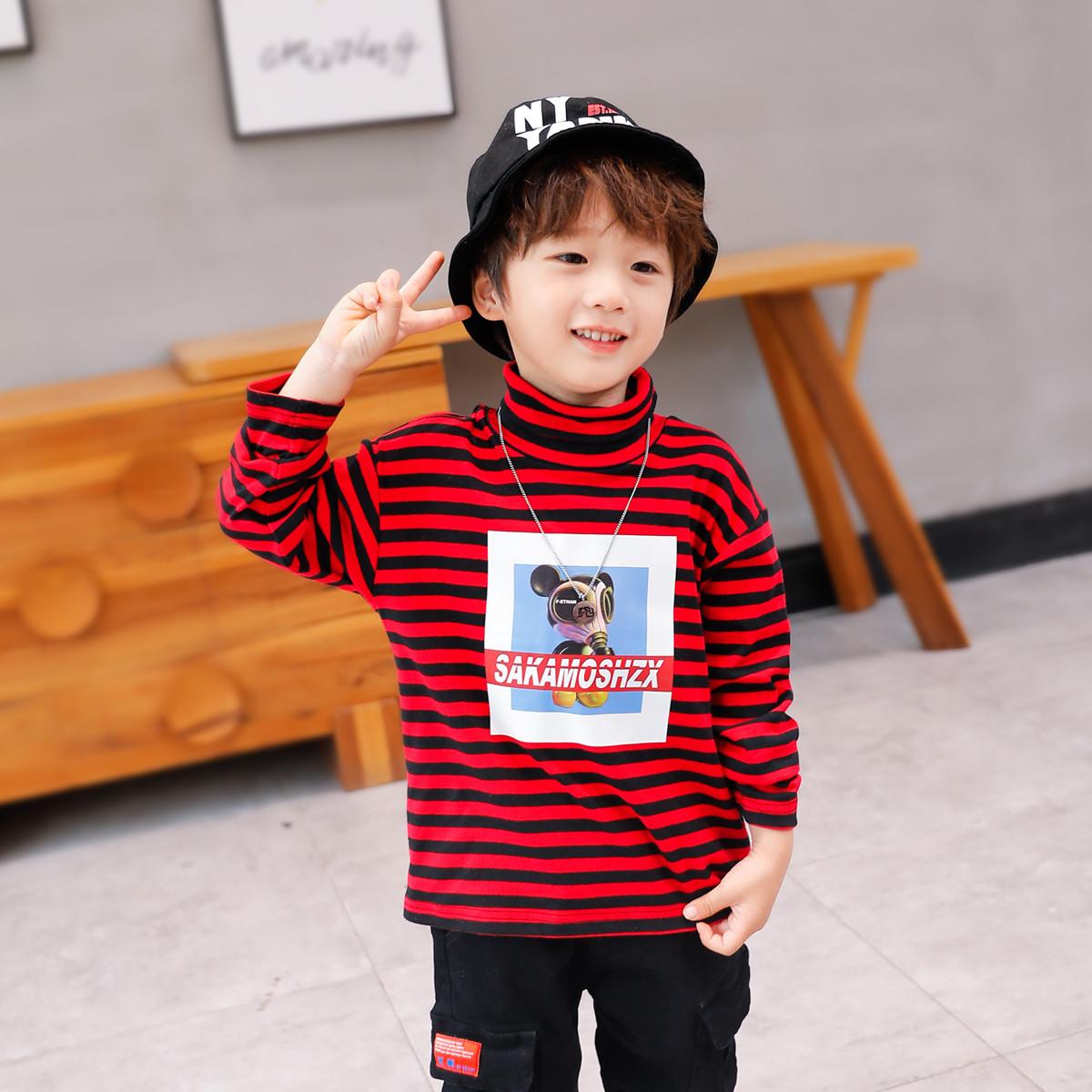 左西左西男童高领打底衫冬装2019新款条纹长袖t恤中大童洋气韩版ZY194197052