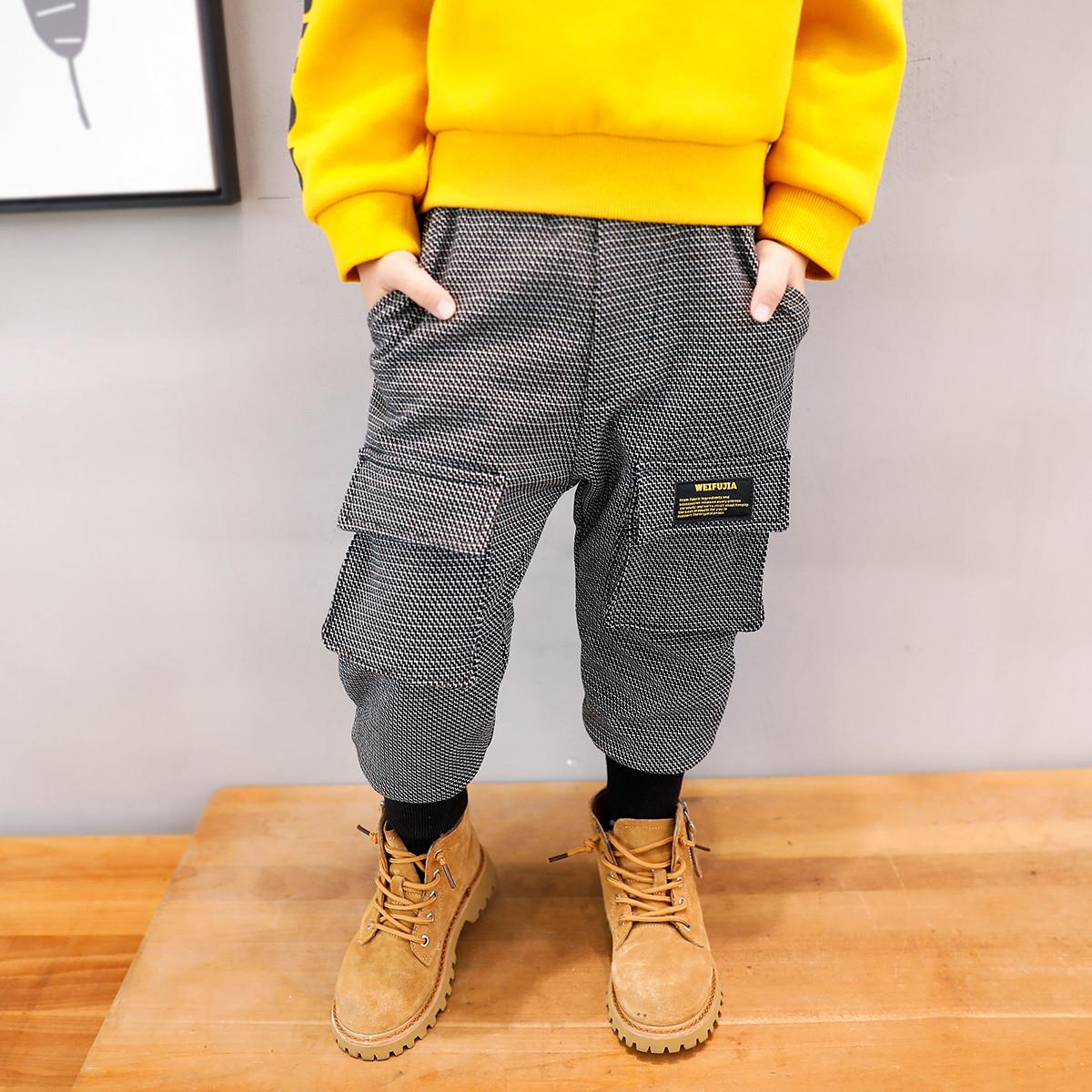 左西左西男童加绒裤子冬装2019新款休闲裤中大童男孩洋气罗纹口童装XK194156014