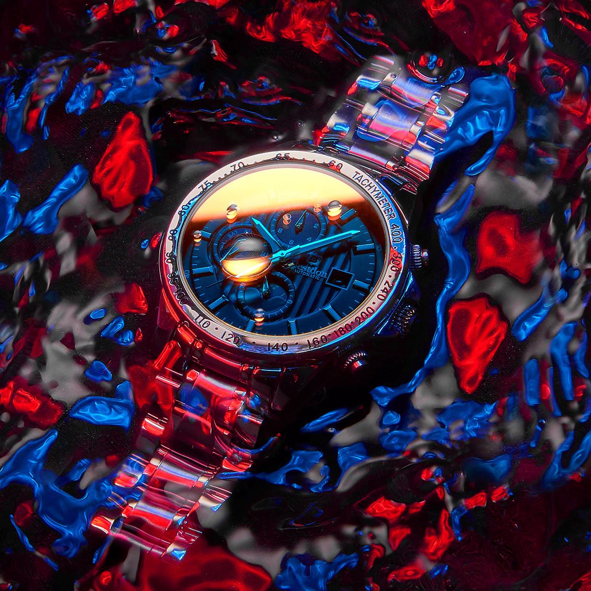 邦顿邦顿【畅销款】酷炫幻彩魅影多功能精钢表带机械男士手表BD76108G