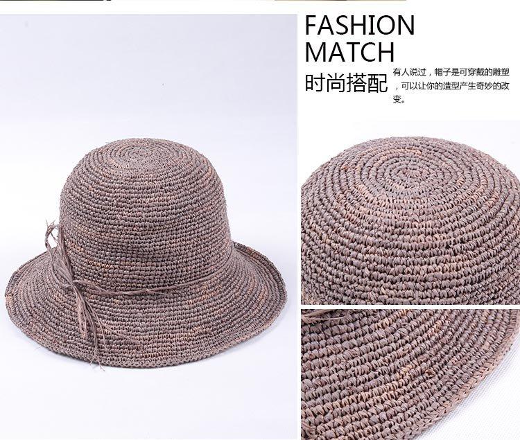 拉菲草手工编织可折叠户外遮阳草帽米咖色