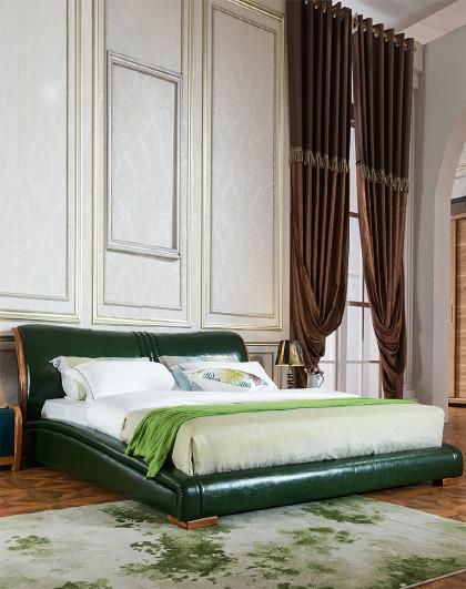 格调北欧 乌金木边框现代卧室皮床