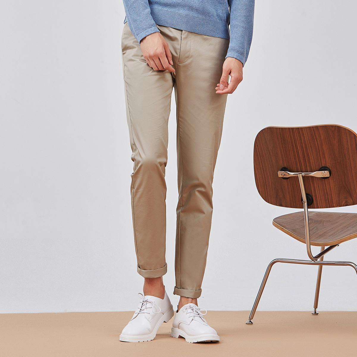 与狼共舞夏季新款男装修身简约男士休闲西裤直筒长裤669304902-706