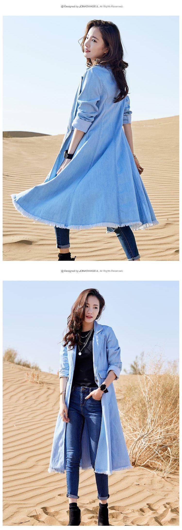 浅蓝色牛仔风衣