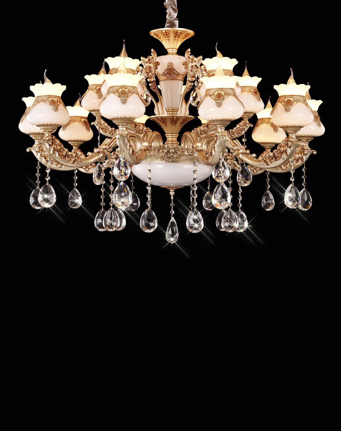15头欧式锌合金仿玉石奢华水晶吊灯