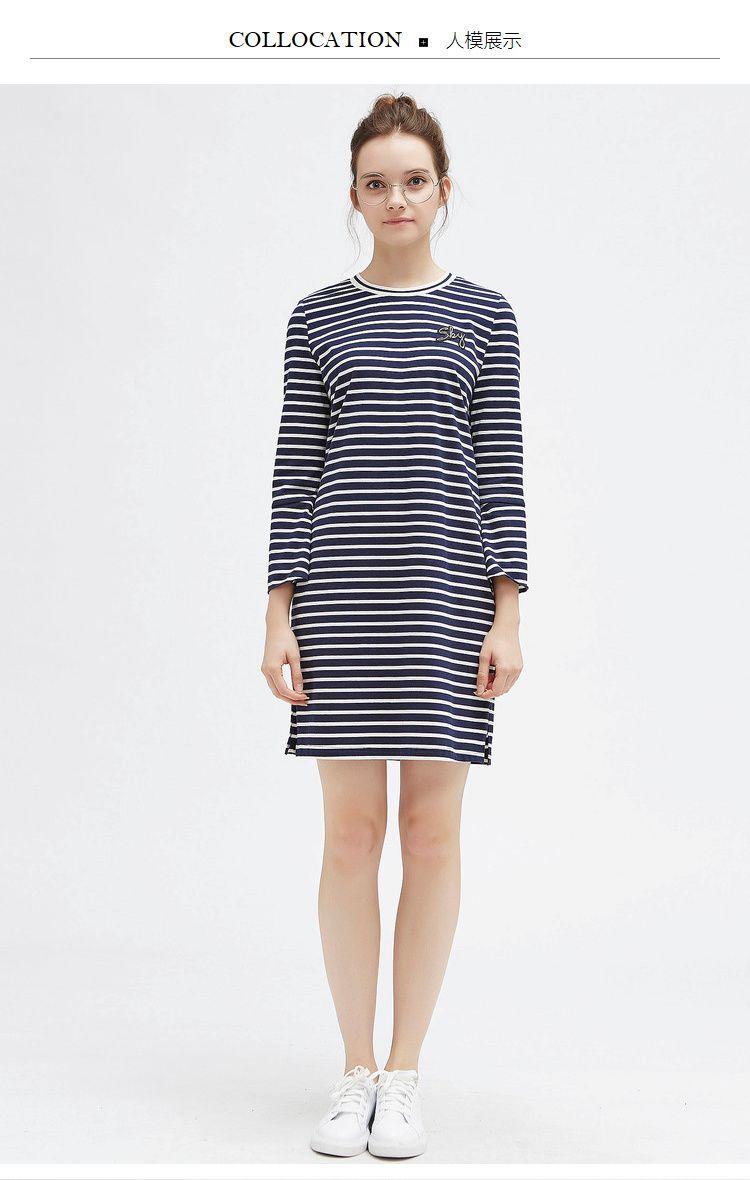 显瘦细条纹针织圆领连衣裙