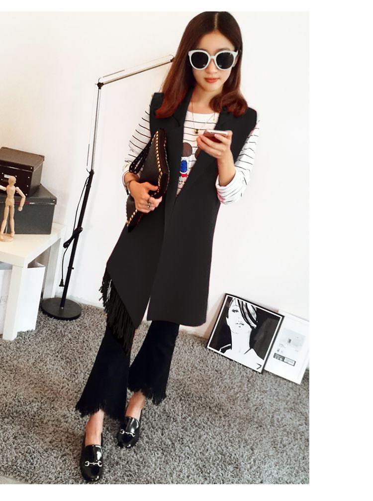 黑色 韩版无袖针织马甲