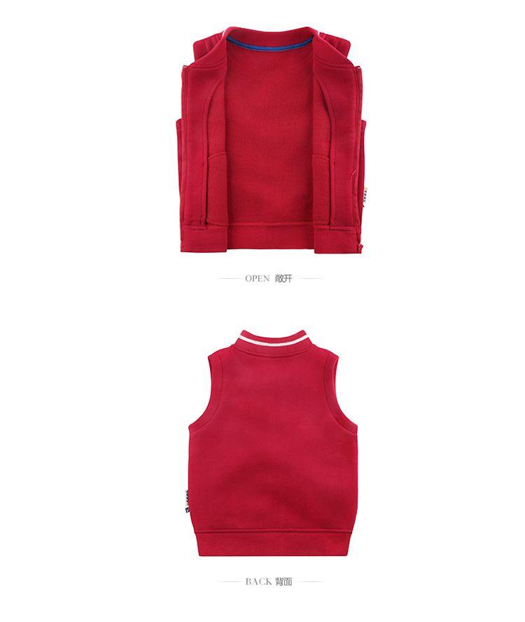 儿童针织马甲大红色
