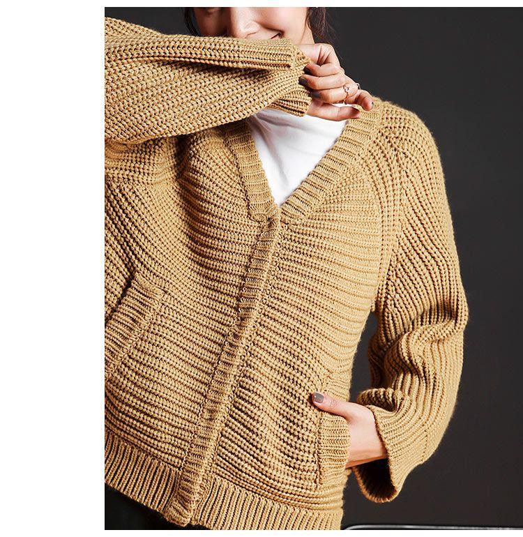 棕色 粗棒针编织口袋v领针织开衫