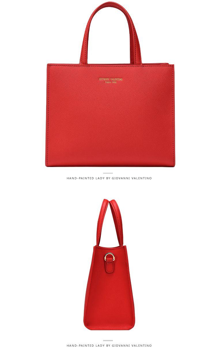 红色手绘娃娃系列红色花时尚手提单肩女包