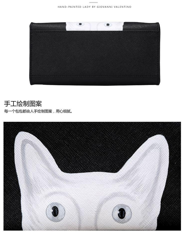 黑色手绘白色猫咪系列花手提单肩斜挎女包