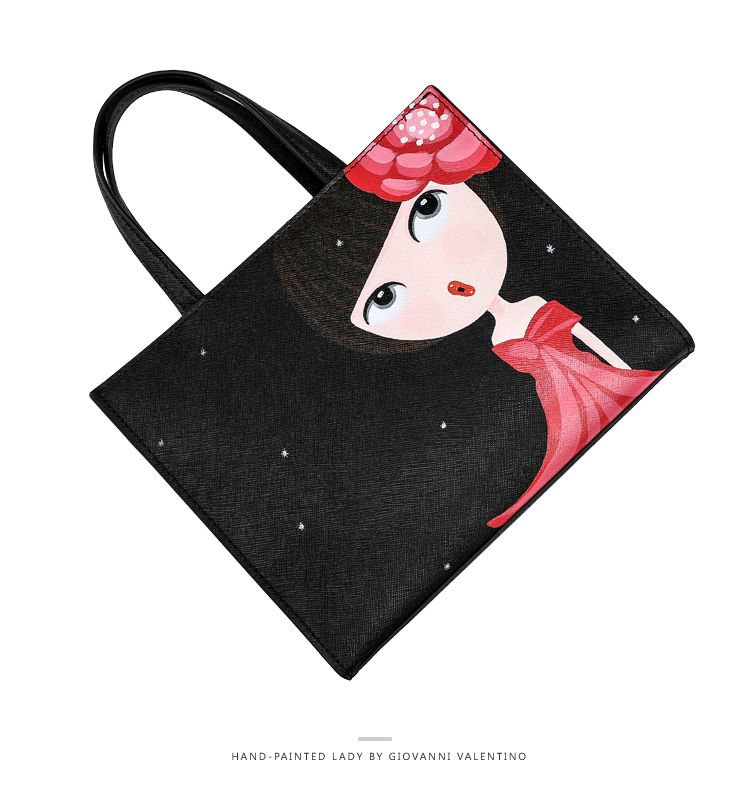 黑色手绘娃娃系列红色花时尚手提单肩女包